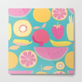 Fruity Pattern on Aqua Metal Print