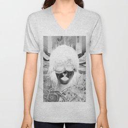 (Alt Shirts) Black Glasses B/W Invert Unisex V-Neck