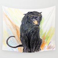 panther Wall Tapestries featuring Panther roaring by BOYAN DIMITROV