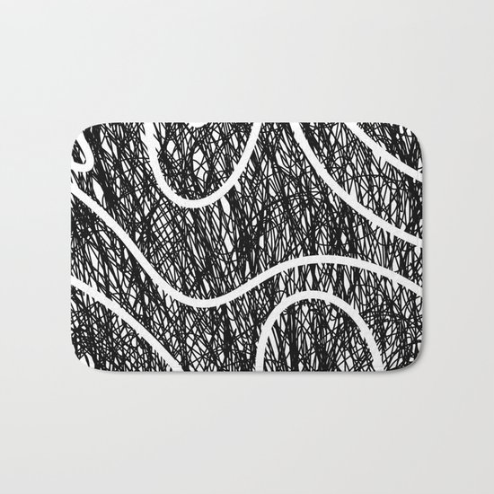 Scribble Ripples - Abstract Black and White Ink Scribble Pattern Bath Mat