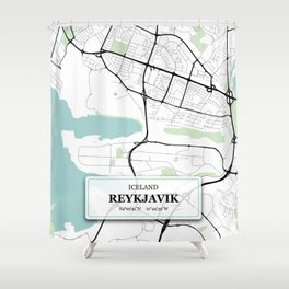 Reykjavik Iceland City Map with GPS Coordinates Shower Curtain