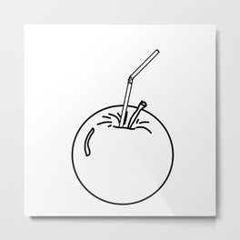 an Apple and a straw Metal Print