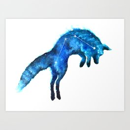 Space Fox | Fox Constellation | Leaping Fox | Double Exposure Fox Art Print