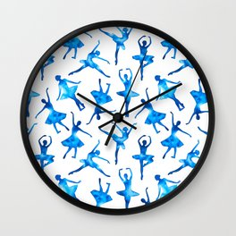 Watercolor Ballerinas (Blue) Wall Clock