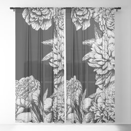 FLOWERS IN BLACK AND WHITE Sheer Curtain