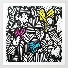 Graffiti Hearts Art Print