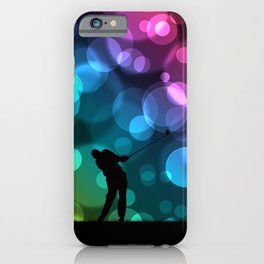 Golfer Driving Bokeh Graphic iPhone Case