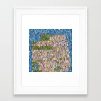san francisco map Framed Art Prints featuring San Francisco Map Collagescape by Tofu