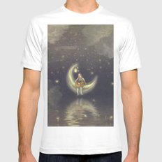 Story about boy who play guitar on moon Mens Fitted Tee White MEDIUM