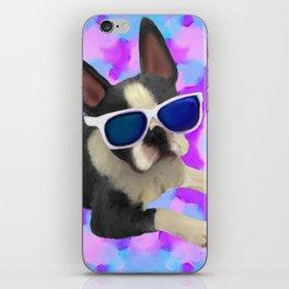 Black Boston Terrier Watercolor iPhone Skin