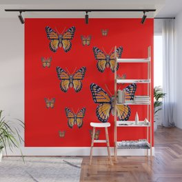 RED ART MONARCH BUTTERFLIES Wall Mural