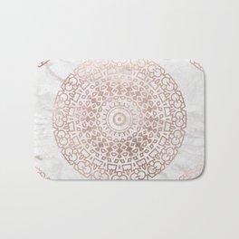 Marble mandala - beaded rose gold on white Bath Mat
