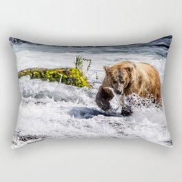 Large Brown bear in Alaska catching salmon in rapids Rectangular Pillow