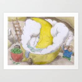 The Moon in a Hottub Art Print