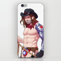 bucky barnes iPhone & iPod Skins featuring Pinup Bucky by Made of Tin