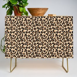 Leopard Print, Black, Brown, Rust and Tan Credenza