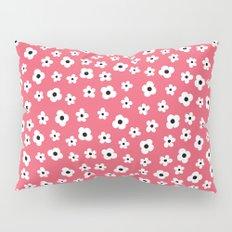 Coral White Spring Flower Pattern Pillow Sham