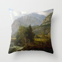 Johan Christian Dahl View of Fortundalen Throw Pillow