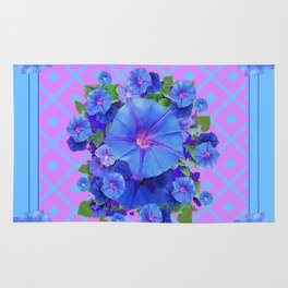 Baby Blue-Lilac Pattern Morning Glories Art Rug