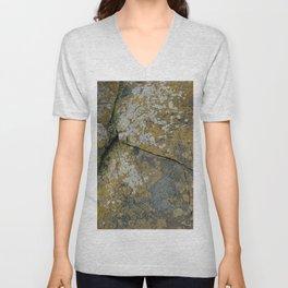 Ancient Rocks with Lichen Texture Unisex V-Neck