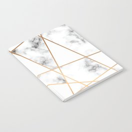 White, Gray, Gold Marble Geometric Pattern Notebook