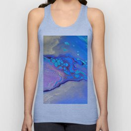 Slow Down Purple - Ultra Violet and Blue Fluid Pour Painting Abstract Unisex Tank Top