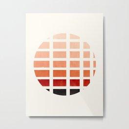 Watercolor Burnt Sienna Minimalist Mid Century Modern Square Matrix Geometric Pattern Round Circle Metal Print