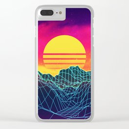 Neon glowing sun grid mountain Clear iPhone Case