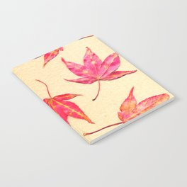 Japanese maple leaves - coral red on pale yellow Notebook