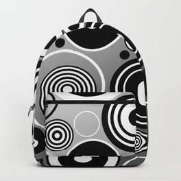 Geometric black and white rings on metallic silver Backpack