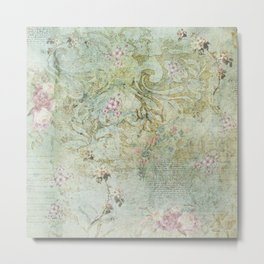 Vintage French Floral Wallpaper Metal Print