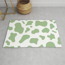 Green cow print pattern, mooo Rug