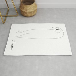 Picasso abstract animals series, picasso owl, contemorary modern line art home decor Rug