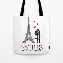 Couple and Eiffel Tower. Tote Bag