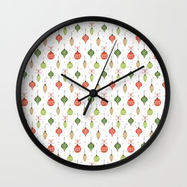 Hand Drawn Decorative Christmas Balls Pattern Wall Clock