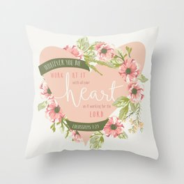 """""""All Your Heart"""" Floral Bible Verse Print Throw Pillow"""