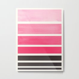 Pink Minimalist Watercolor Mid Century Staggered Stripes Rothko Color Block Geometric Art Metal Print