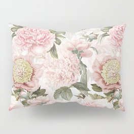 Vintage & Shabby Chic - Antique Pink Peony Flowers Garden Pillow Sham
