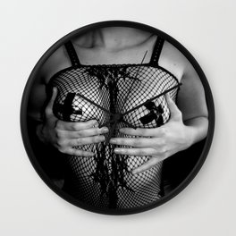 Erotic photography, fetish skinny girl nude posing, sexy taped nipples, slim woman adult picture 2 Wall Clock