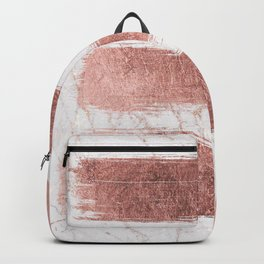 Elegant faux rose gold glitter marble brushstrokes Backpack