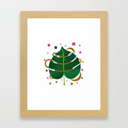 Monstera Leaves with Gold Pink and Green Geometric Confetti Framed Art Print