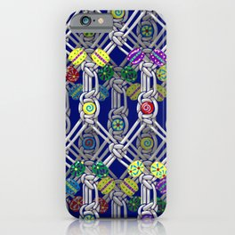 1970s Retro Macrame Pattern iPhone Case