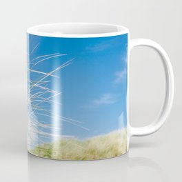 Vibrant Sand dune grasses against blue sky, Fistral Beach Coffee Mug