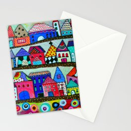 Mexican Town House of Colors Painting Stationery Cards