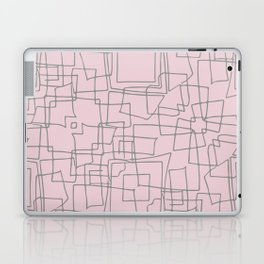 Decorative pink and grey abstract squares Laptop & iPad Skin