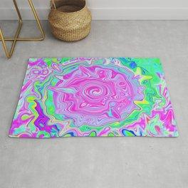 Groovy Aqua, Pink and Pastel Green Liquid Art Rug