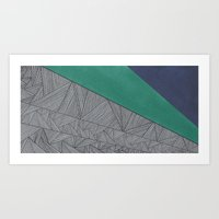 Black, Turquois, Dark Blue Art Print