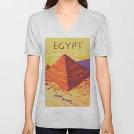 Egypt, Great Pyramids, Retro Vintage Travel Poster Unisex V-Neck