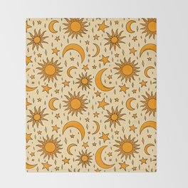 Vintage Sun and Star Print Throw Blanket