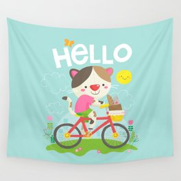 Cat on a bike Wall Tapestry
